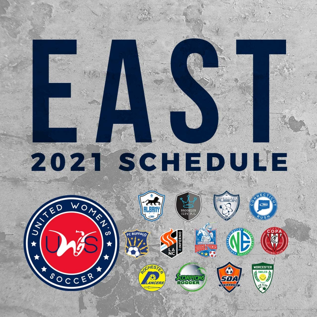 United Women's Soccer UWS national pro-am league east 2021 conference schedule lancaster inferno new england mutiny LI Rough Riders NJ Copa FC Albany Rush CT Rush Connecticut Fusion Worcester Smiles Scorpions SC FC Buffalo Rochester Lancers Syracuse DA Brooklyn City FC