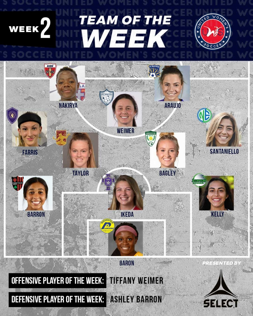 United Women's Soccer national pro-am league UWS Team of the Week TOTW Tiffany Weimer