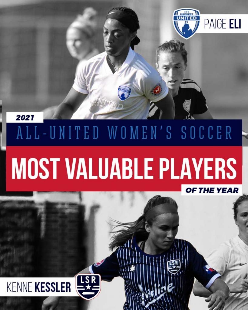 United Women's Soccer UWS national pro-am league 2021 UWS Awards MVP Midwest United Paige Eli Kenne Kessler Lone Star Republic LSR TX