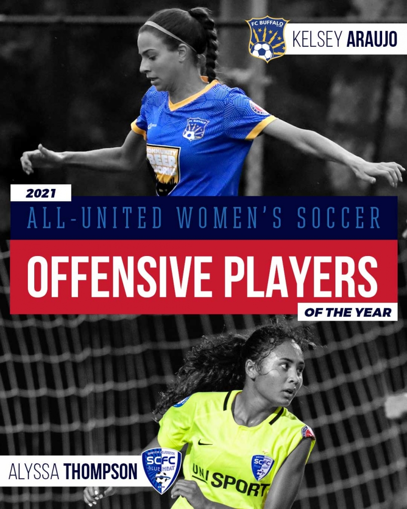 United Women's Soccer UWS national pro-am league 2021 All-UWS Awards Offensive Player of the Year UWS POY Alyssa Thompson Santa Clarita Blue Heat FC Buffalo Kelsey Araujo
